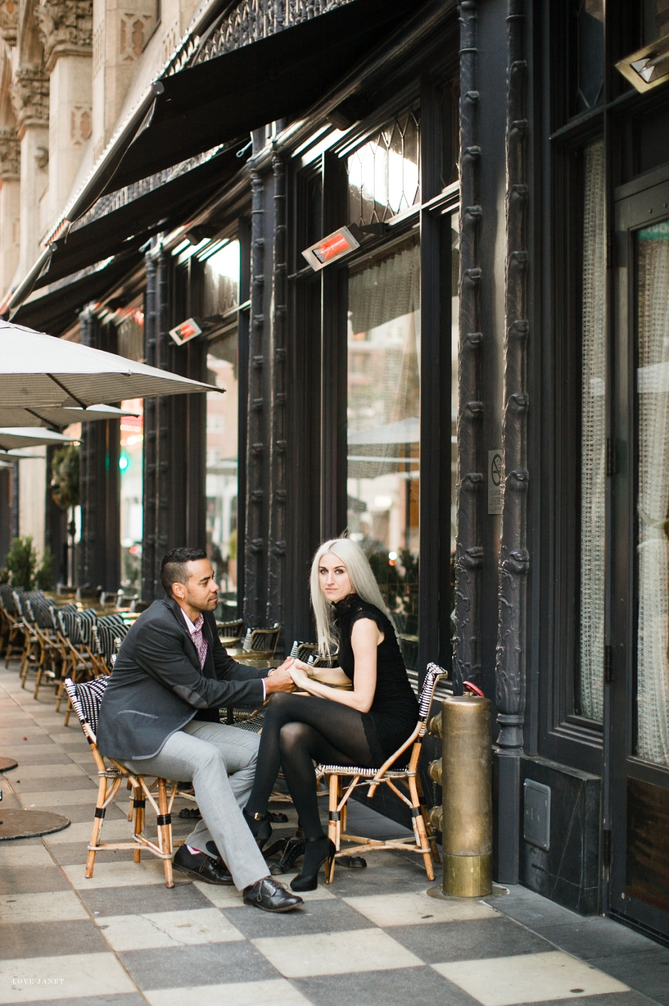 couple sitting at cute cafe at ace hotel downtown los angeles